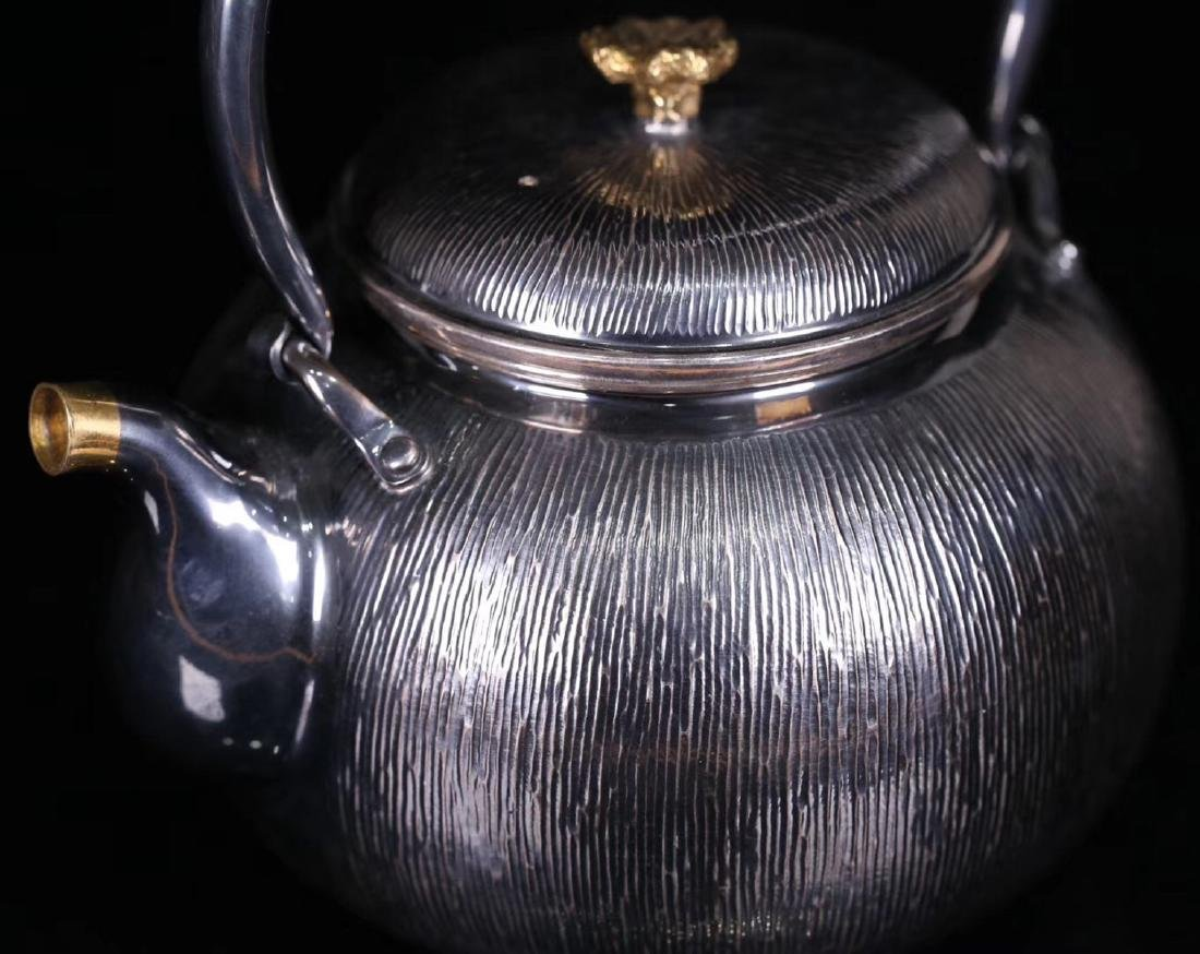 AN OLD SILVER POT - 6