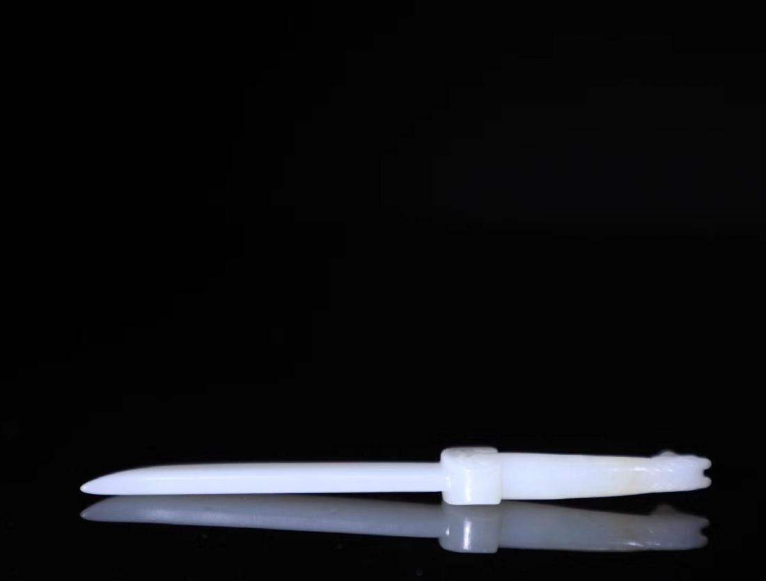 A HETIAN JADA CARVED PAPER KNIFE - 4