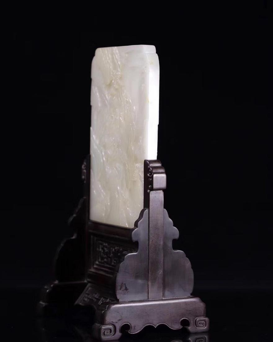 A HETIAN JADE CARVED SCREEN WITH WOOD STAND - 3