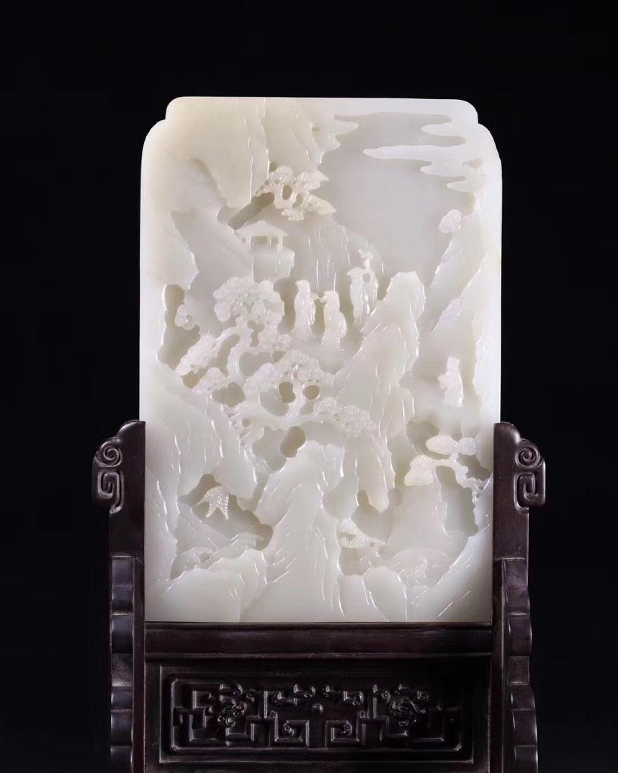 A HETIAN JADE CARVED SCREEN WITH WOOD STAND - 4
