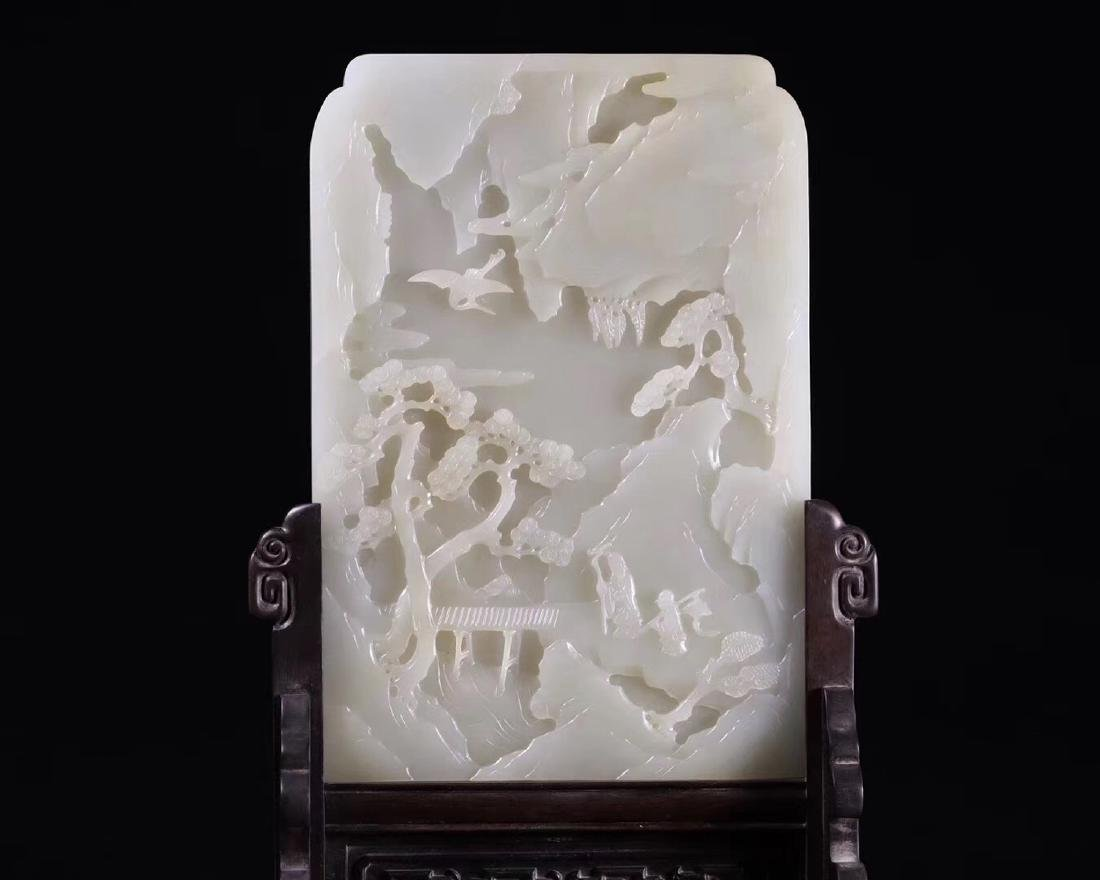 A HETIAN JADE CARVED SCREEN WITH WOOD STAND - 5