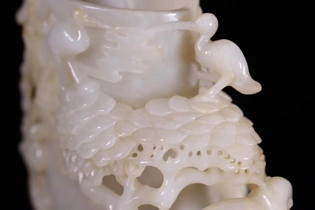 A HETIAN JADE CARVED BRUSH POT - 6