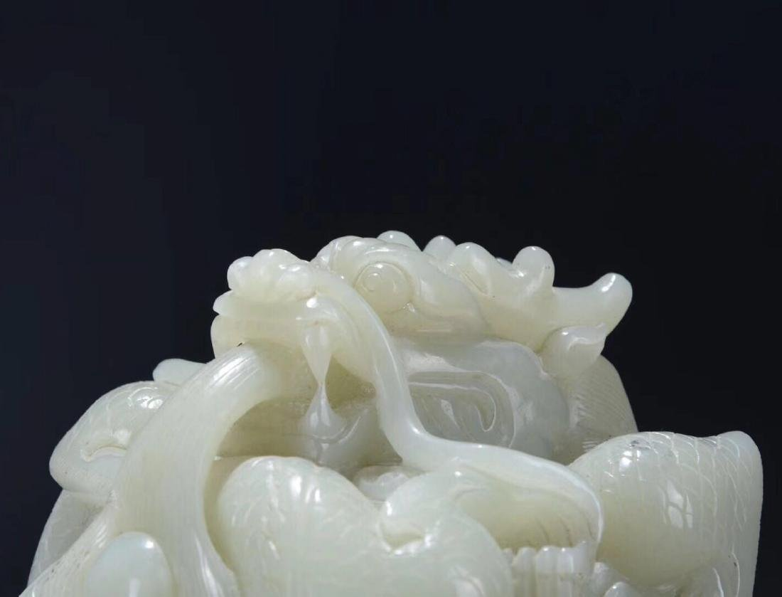 A HETIAN JADE CARVED DRAGON SHAPED SEAL - 4