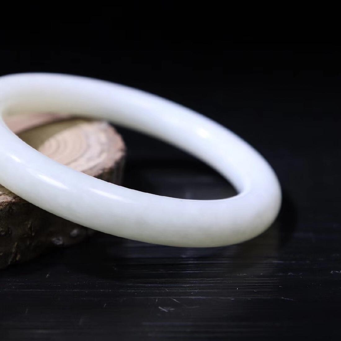 A HETIAN WHITE JADE BANGLE - 4