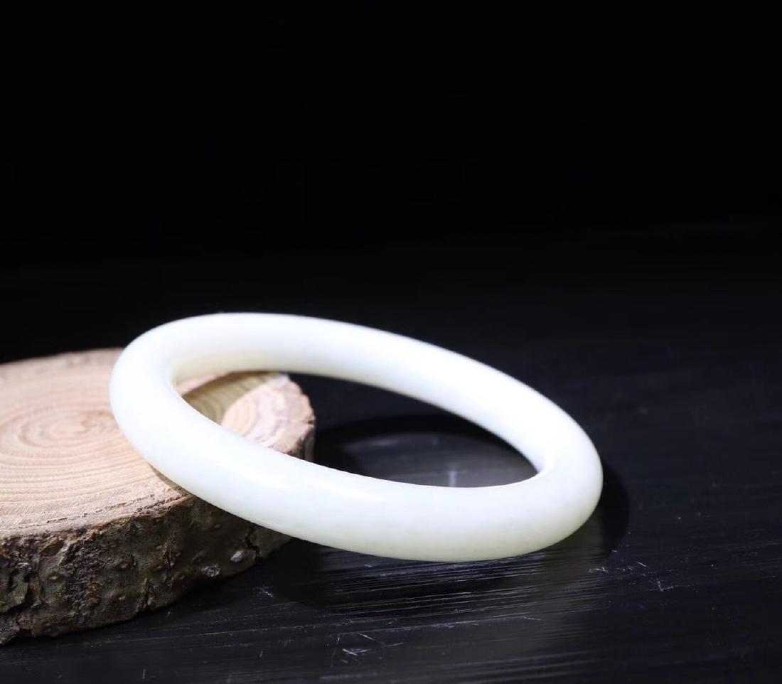 A HETIAN WHITE JADE BANGLE - 5
