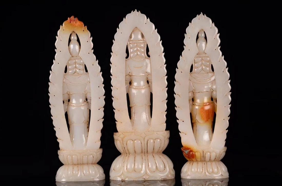 THREE HETIAN JADE CARVED GUANYIN STATUES - 4