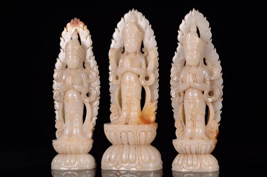 THREE HETIAN JADE CARVED GUANYIN STATUES - 5