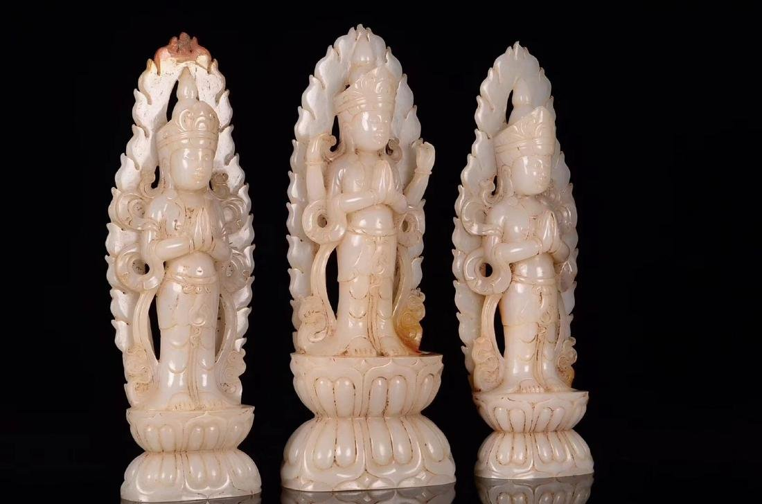 THREE HETIAN JADE CARVED GUANYIN STATUES - 6