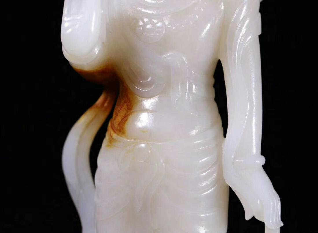 A HETIAN JADE CARVED STANDING GUANYIN BUDDHA - 8
