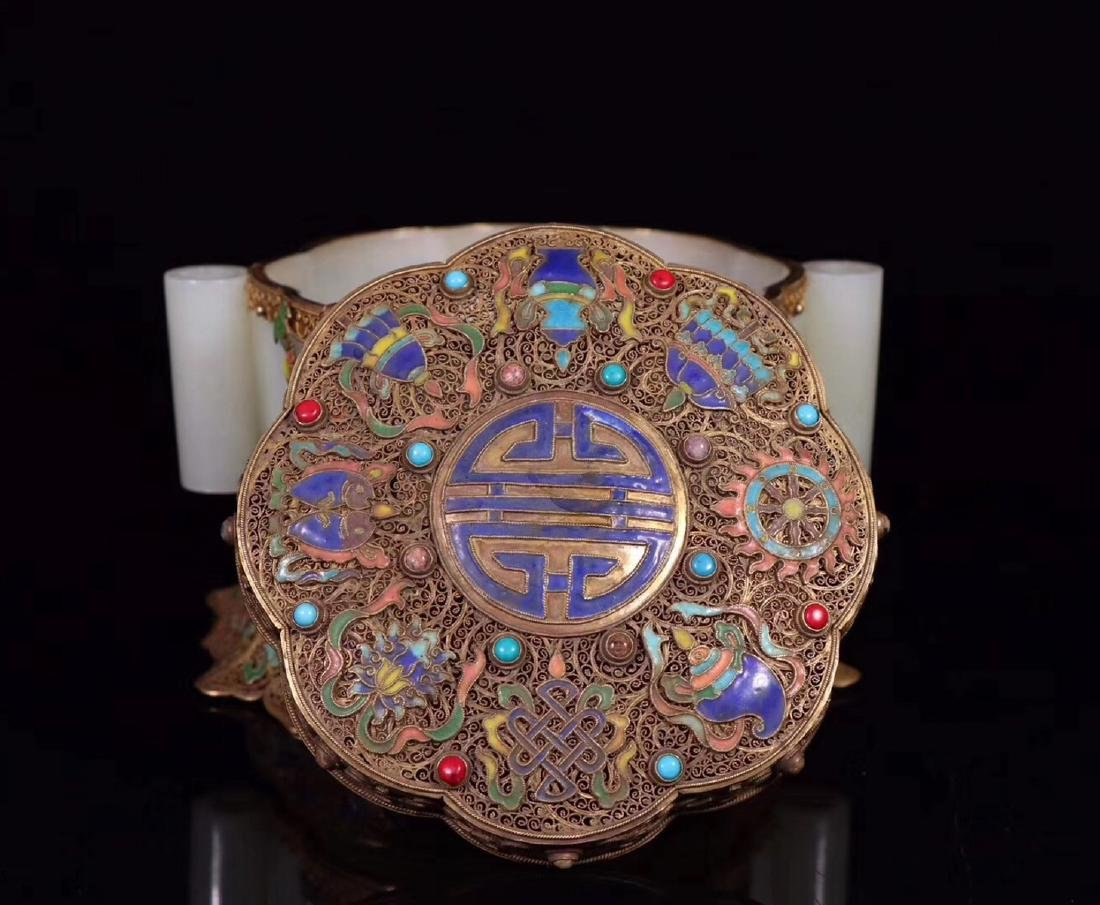 A GILT SILVER FILIGREE DECORATED HETIAN JADE BOX - 7