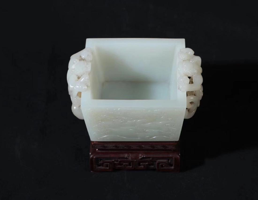 A HETIAN JADE CARVED DOUBLE EARS SQUARE CENSER - 2