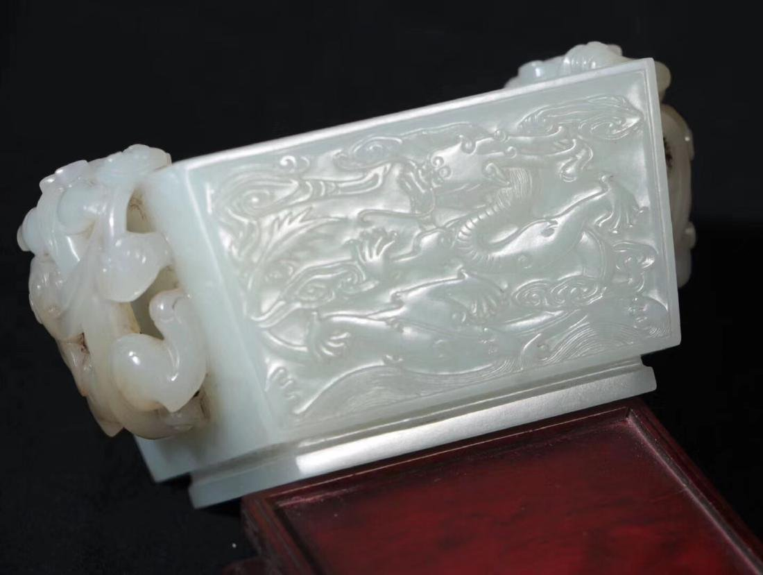 A HETIAN JADE CARVED DOUBLE EARS SQUARE CENSER - 4