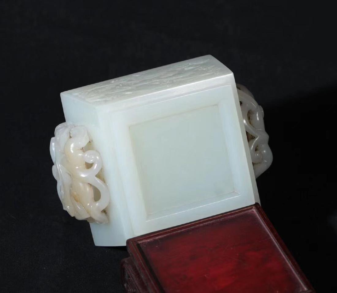 A HETIAN JADE CARVED DOUBLE EARS SQUARE CENSER - 7