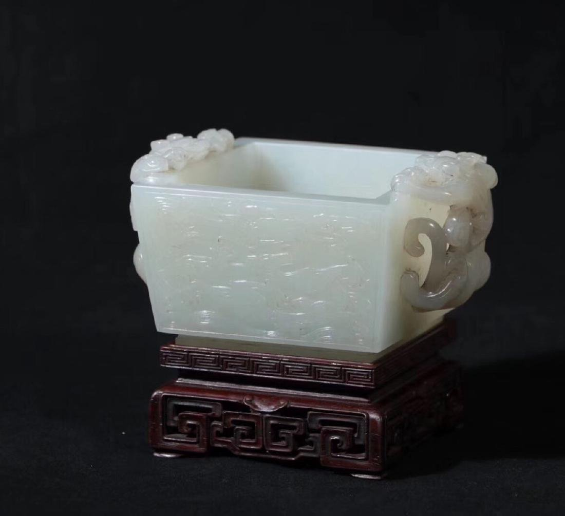 A HETIAN JADE CARVED DOUBLE EARS SQUARE CENSER - 9