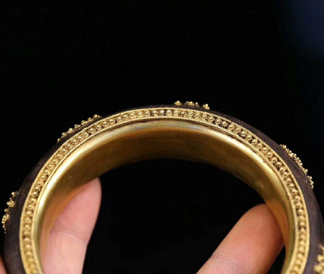 A CHENXING SLIVER GILT SHOUWEN BANGLE - 4