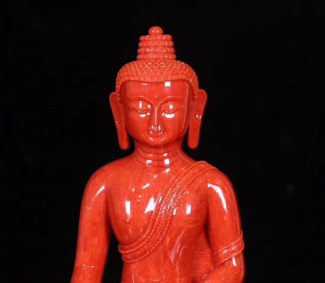 A RED CORAL CARVED PHARMACIST BUDDHA - 2