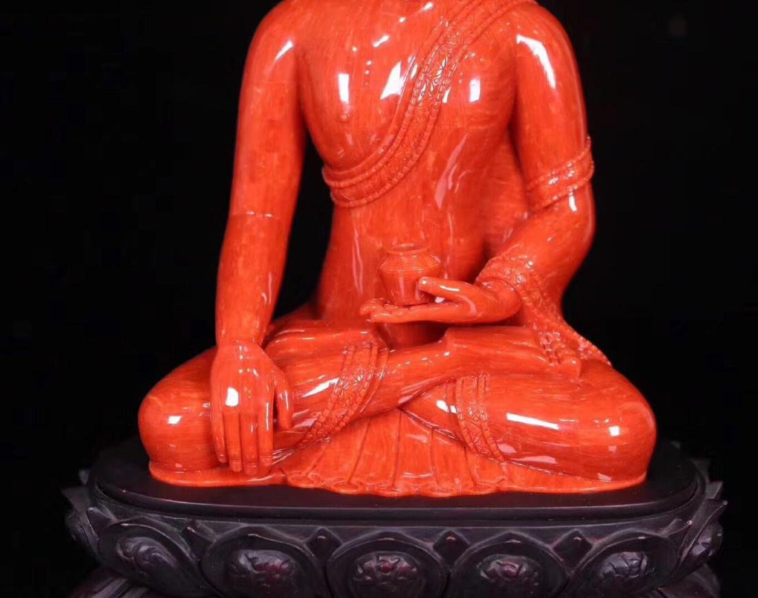 A RED CORAL CARVED PHARMACIST BUDDHA - 3