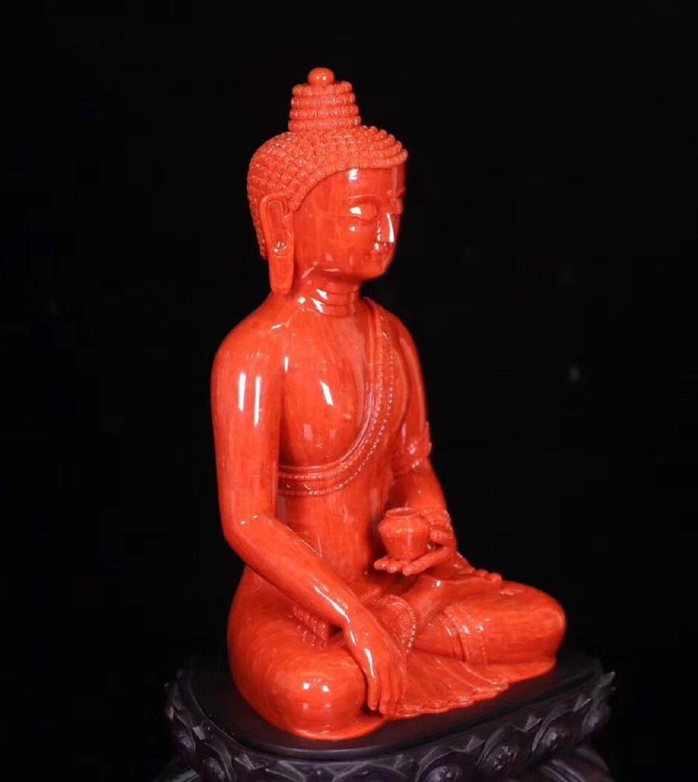A RED CORAL CARVED PHARMACIST BUDDHA - 6