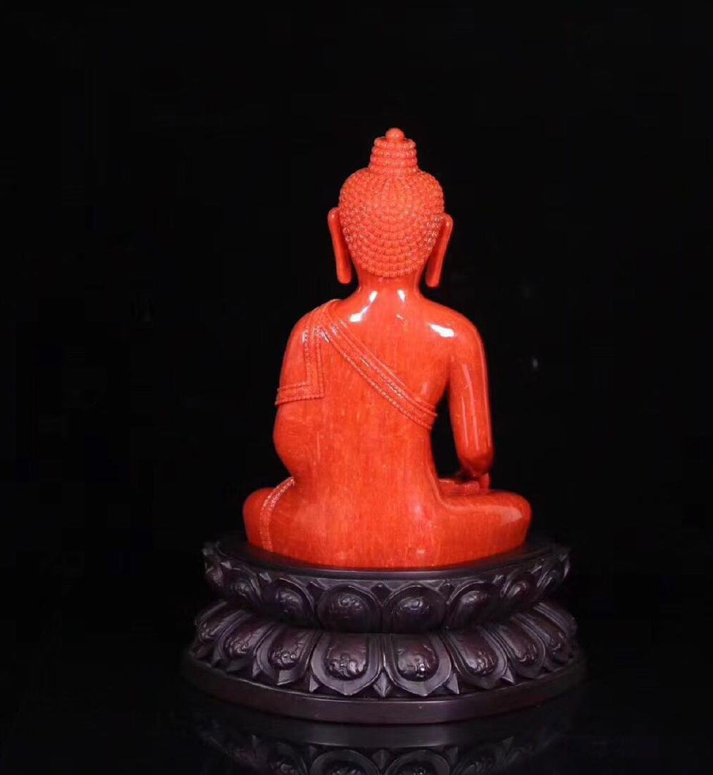 A RED CORAL CARVED PHARMACIST BUDDHA - 8