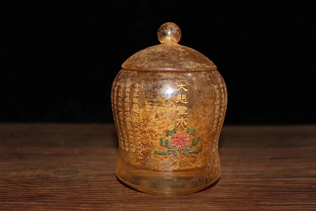A BUDDHISM CRYSTAL CUP