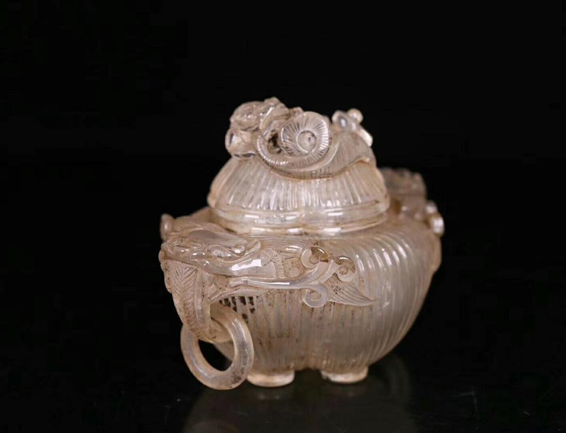 A CRYSTAL CARVED BEAST SHAPED DRAGON-EAR CENSER - 2