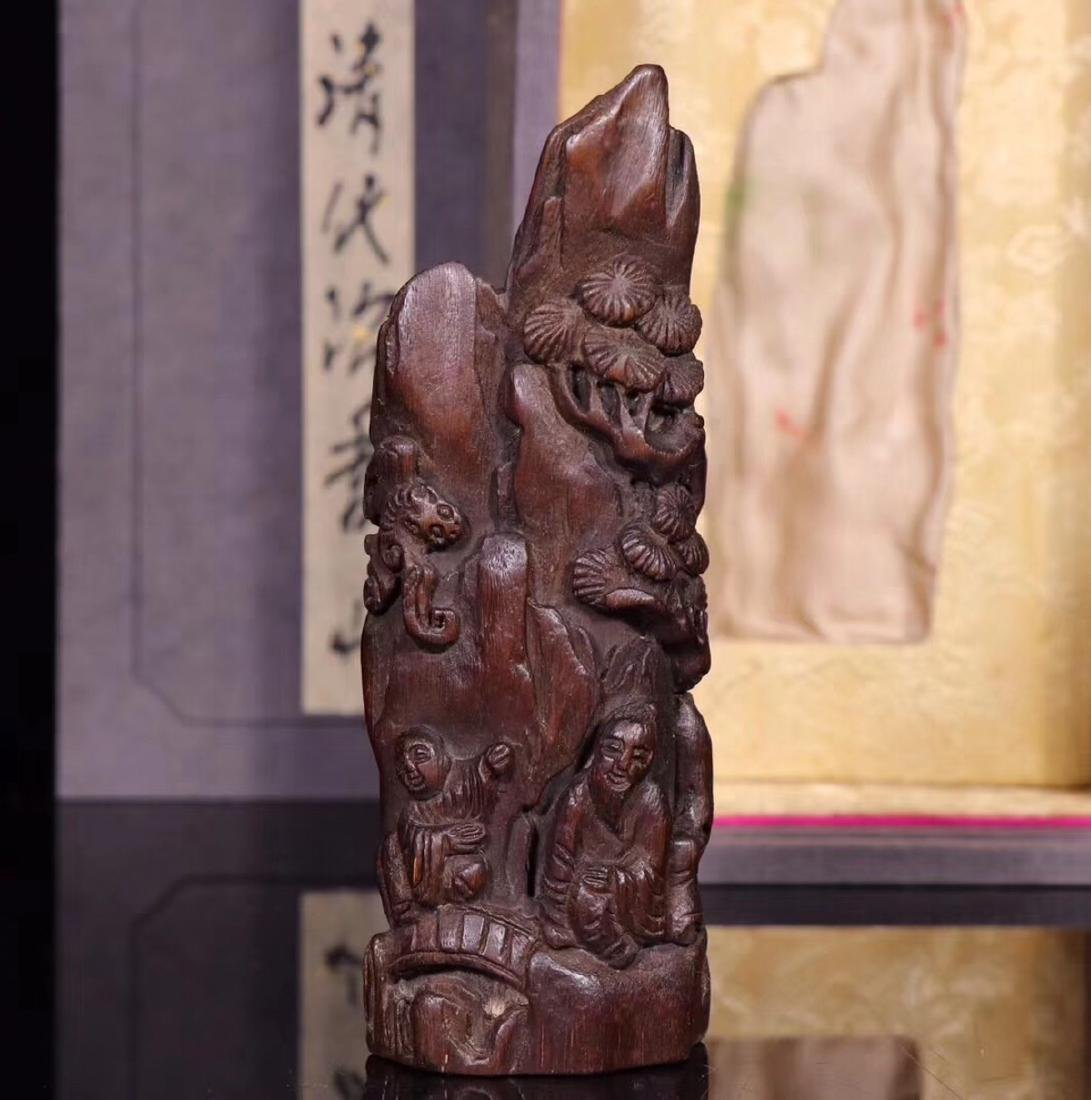 A CHENXIANG WOOD CARVED PENDANT - 3