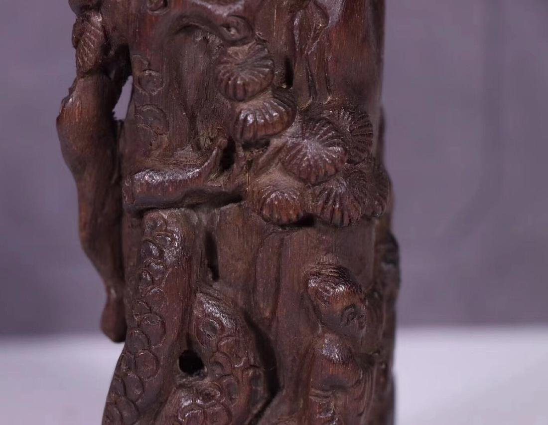 A CHENXIANG WOOD CARVED PENDANT - 5