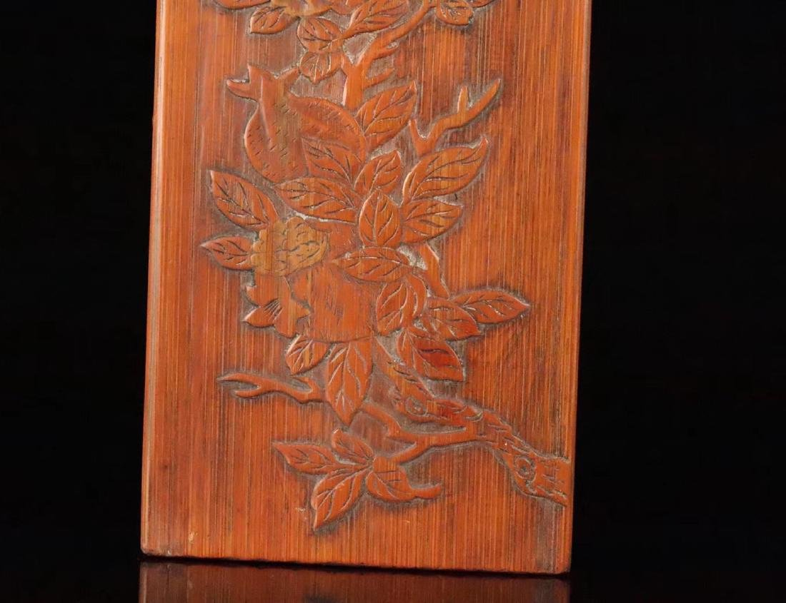 A RED WOOD AND BAMBOO CARVED STUDY SEAL - 6