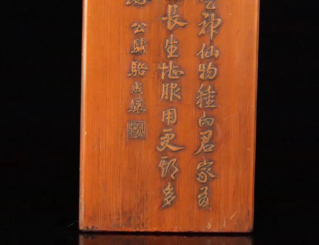 A RED WOOD AND BAMBOO CARVED STUDY SEAL - 8