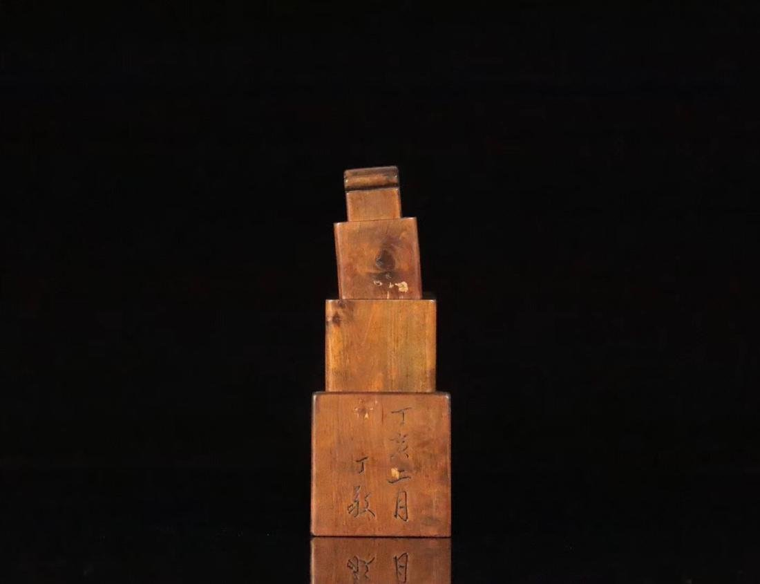 A HUANGYANG WOOD SQUARE SHAPED SEAL - 4