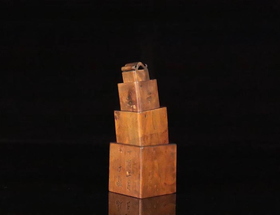 A HUANGYANG WOOD SQUARE SHAPED SEAL - 5