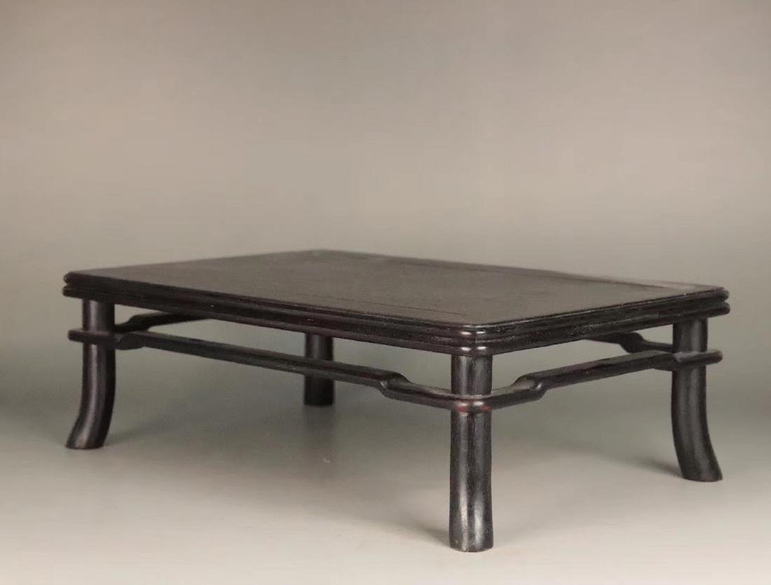 AN OLD ZITAN WOOD CARVED TABLE - 3