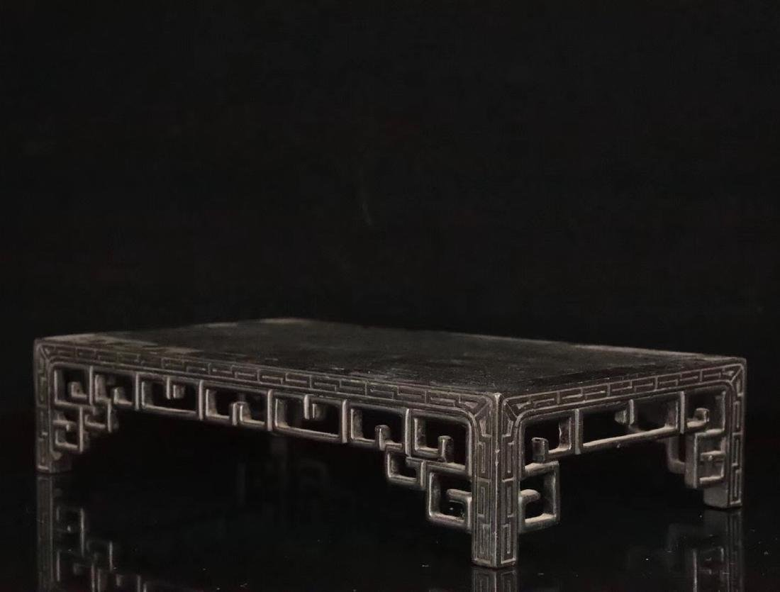 AN OLD ZITAN WOOD CARVED TABLE - 4