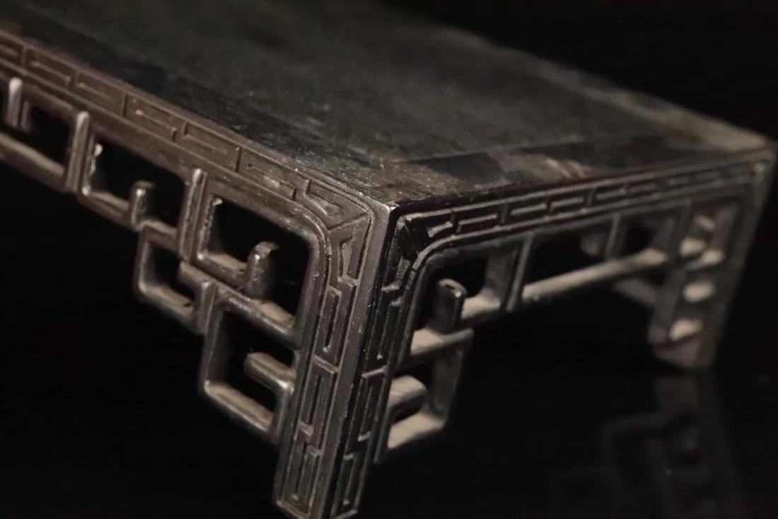 AN OLD ZITAN WOOD CARVED TABLE - 7