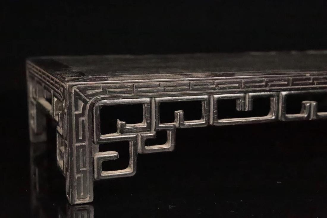 AN OLD ZITAN WOOD CARVED TABLE - 9