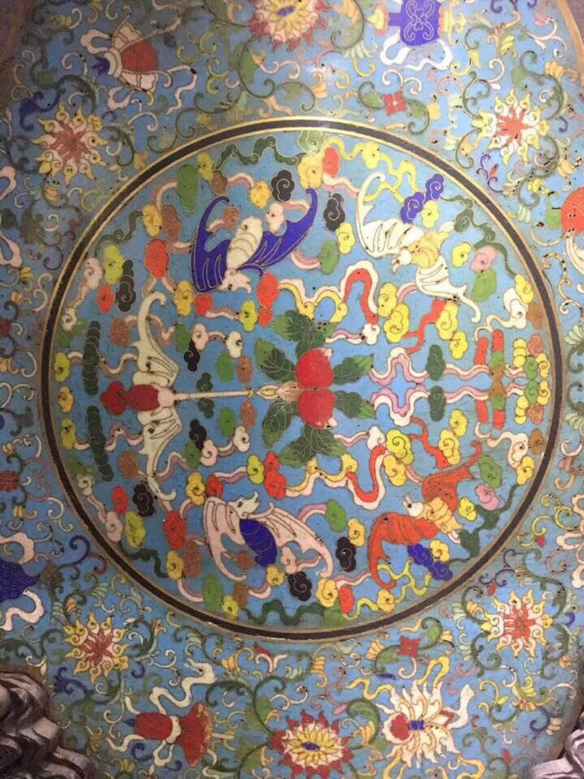 A CLOISONNE FLORAL SHAPED SCREEN WITH WOOD BASE - 6