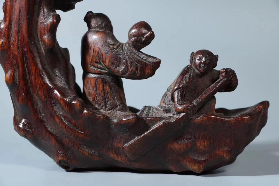 A CHENXIANG WOOD CARVED BOAT AND FIGURE ORNAMENT - 5