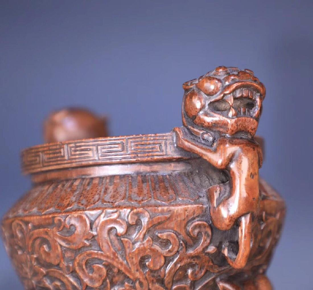 A BAMBOO CARVED THREE PAIRS FEET LIONEAR CENSER - 6