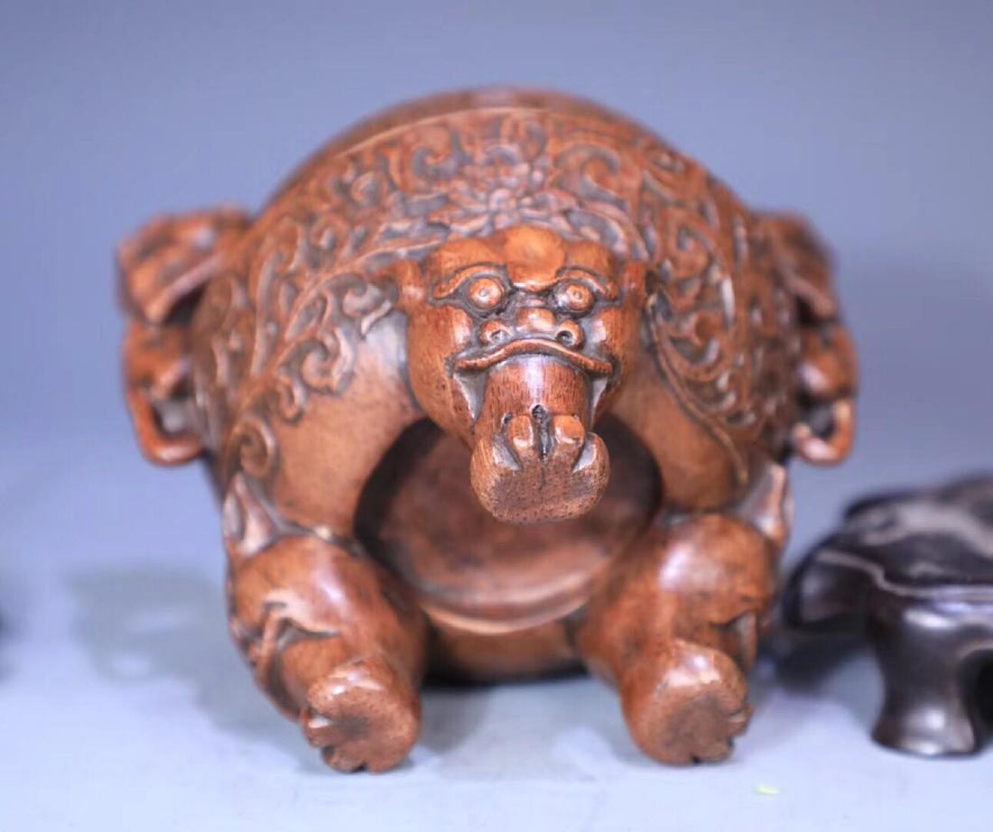 A BAMBOO CARVED THREE PAIRS FEET LIONEAR CENSER - 7