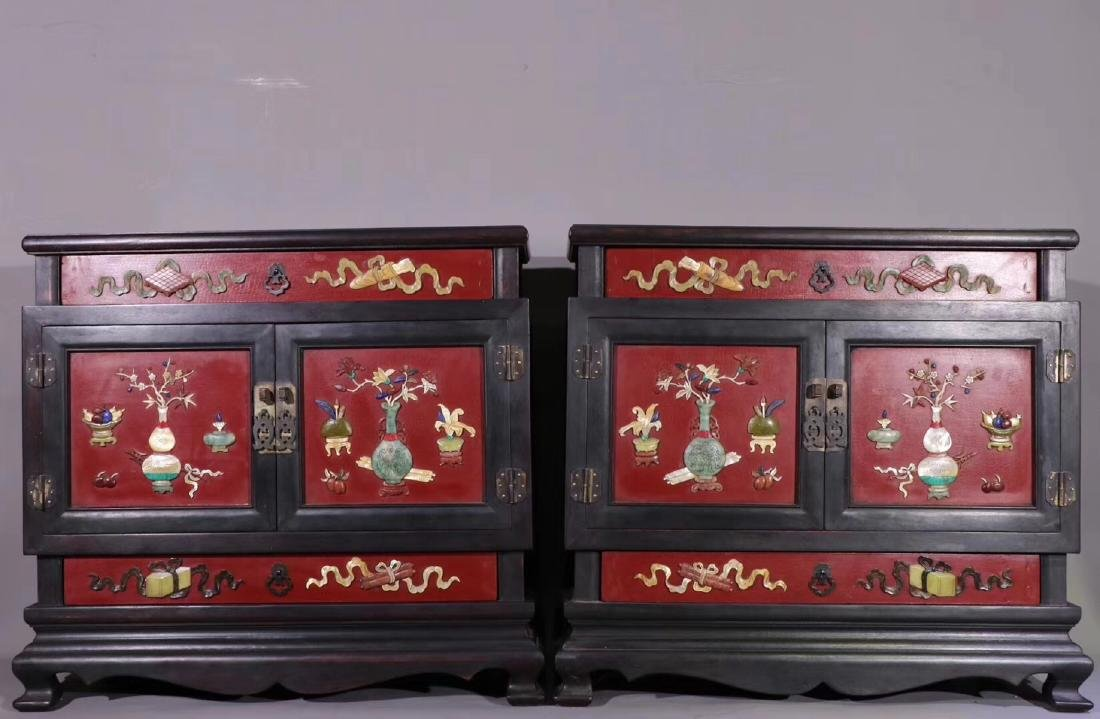 PAIR ZITAN AND LACQUER DECORATED CONTAINERS