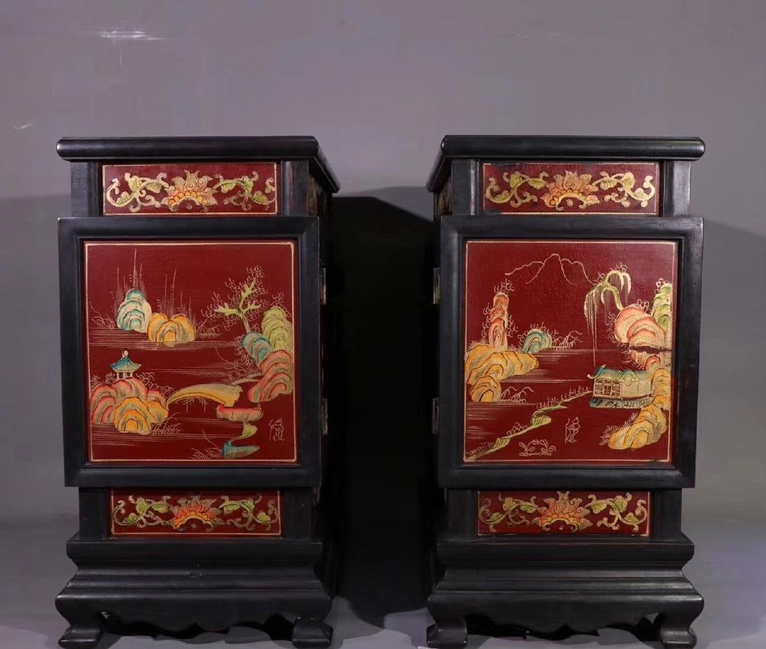 PAIR ZITAN AND LACQUER DECORATED CONTAINERS - 2