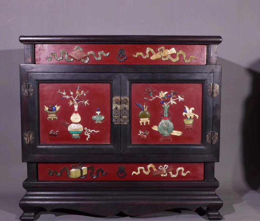 PAIR ZITAN AND LACQUER DECORATED CONTAINERS - 4