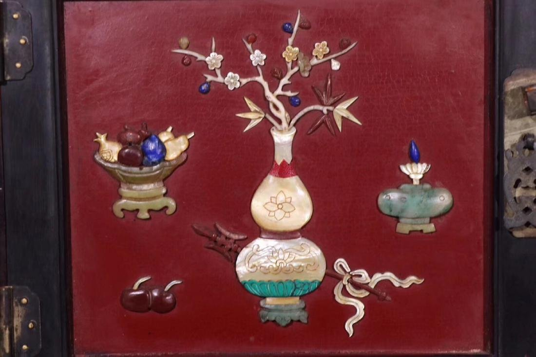 PAIR ZITAN AND LACQUER DECORATED CONTAINERS - 9