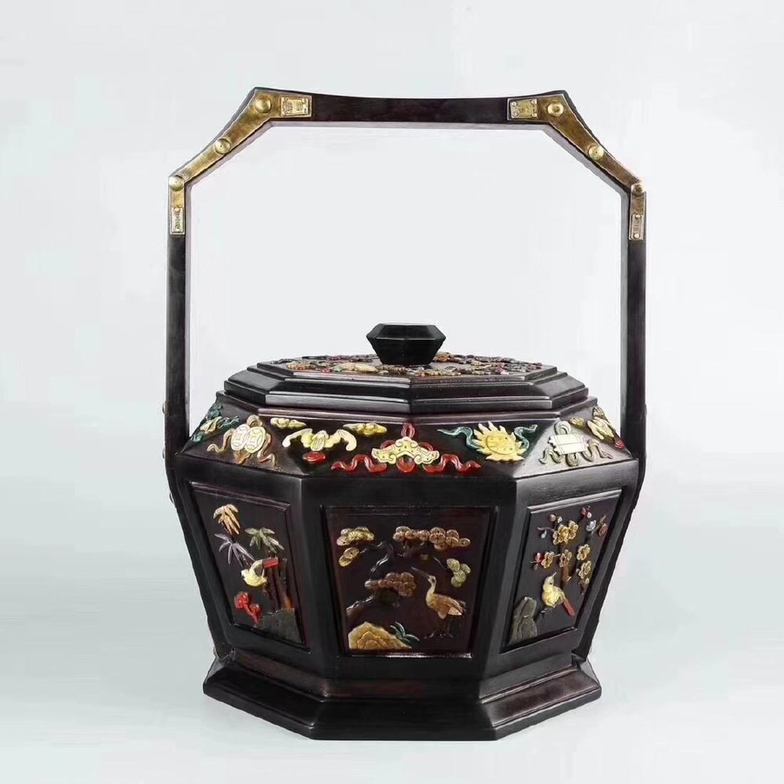 A HONGSUANZHI WOOD BASKET - 9