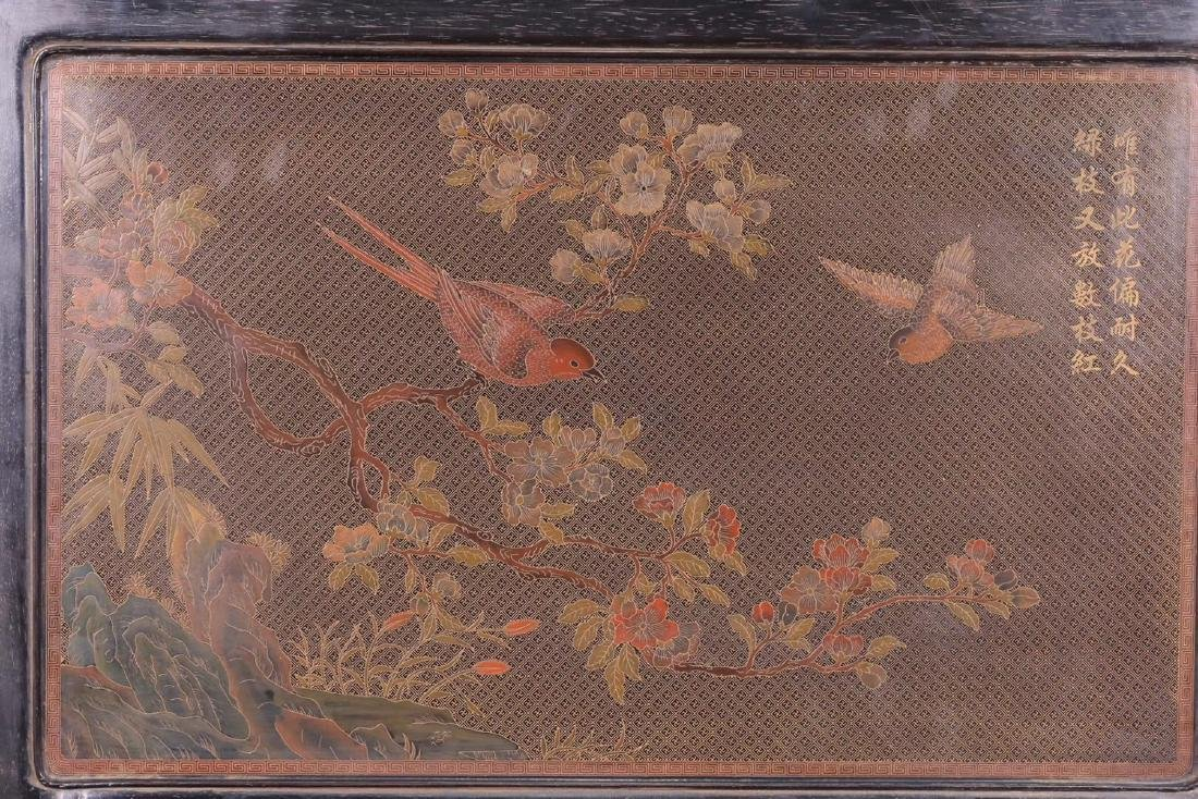 A ZITAN LACQUER WOOD WITH SOAPSTONE SCREEN - 8