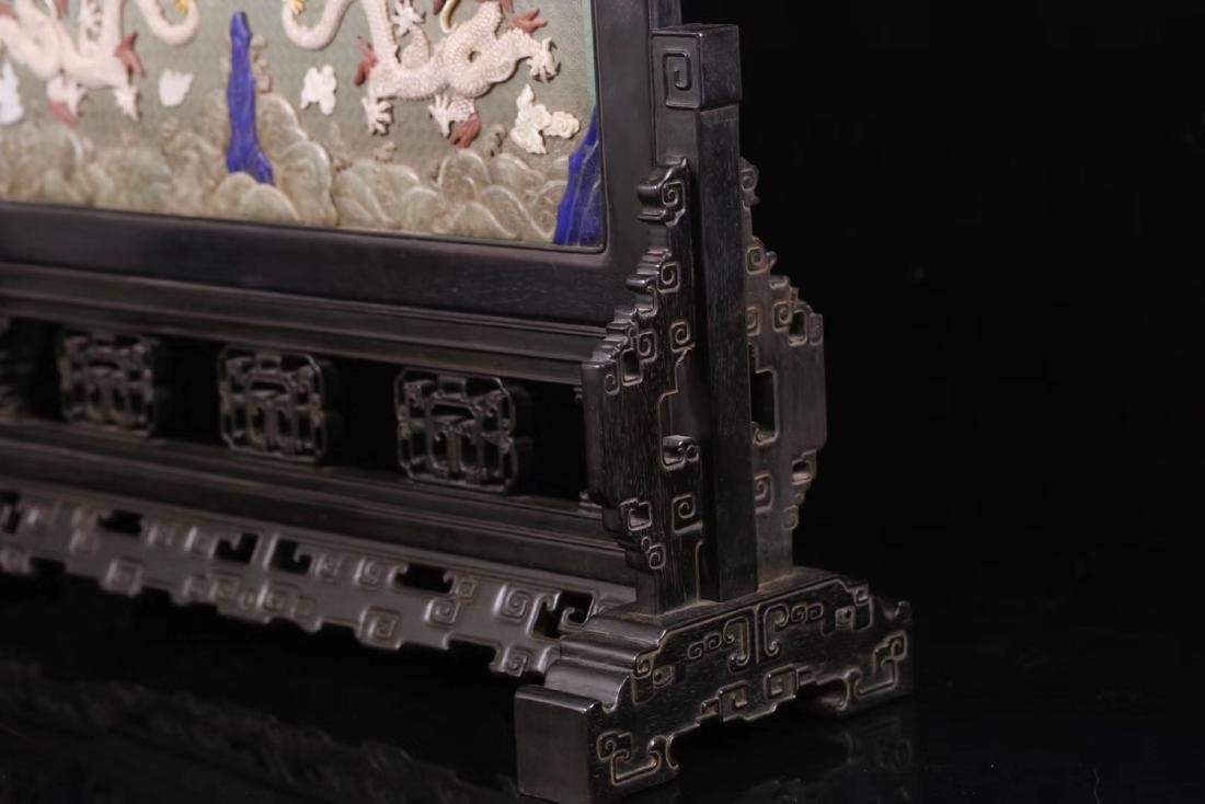A ZITAN LACQUER WOOD WITH SOAPSTONE SCREEN - 9