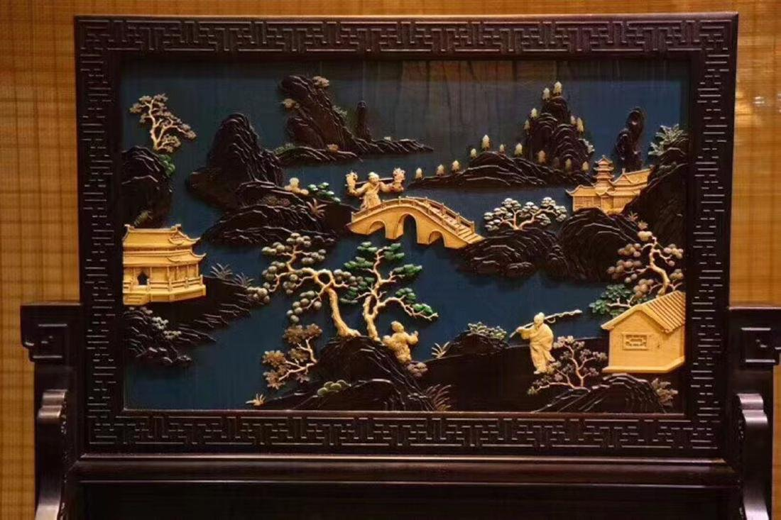 A ZITAN AND LACQUER LANDSCAPE PATTERN SCREEN - 3