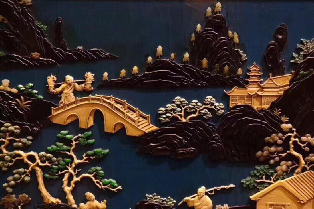 A ZITAN AND LACQUER LANDSCAPE PATTERN SCREEN - 6
