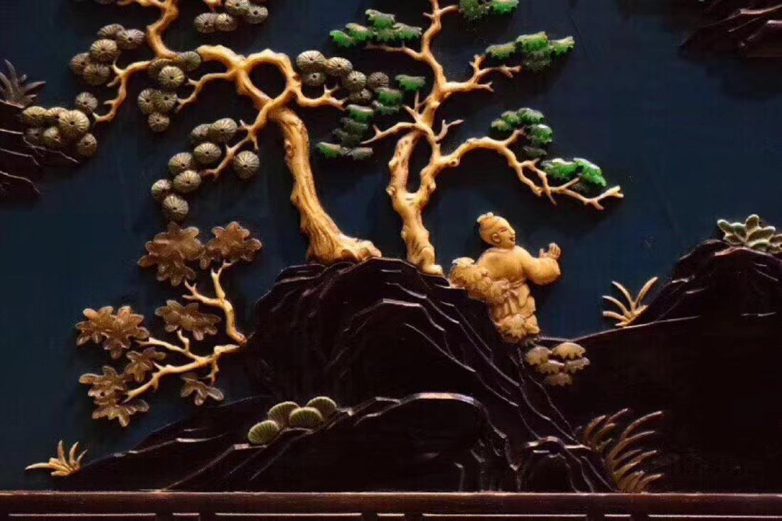 A ZITAN AND LACQUER LANDSCAPE PATTERN SCREEN - 7