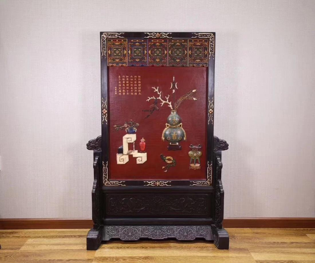 A ZITAN AND LACQUER DECORATED SCREEN